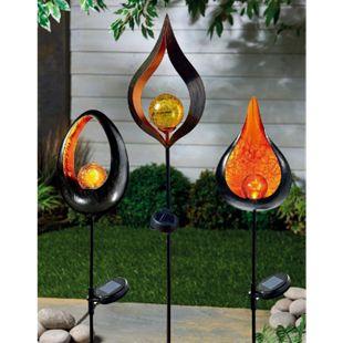 LED Solar Gartenstecker Flammeneffekt Gartenfigur Stecker Garten Deko Gartendeko - Bild 1