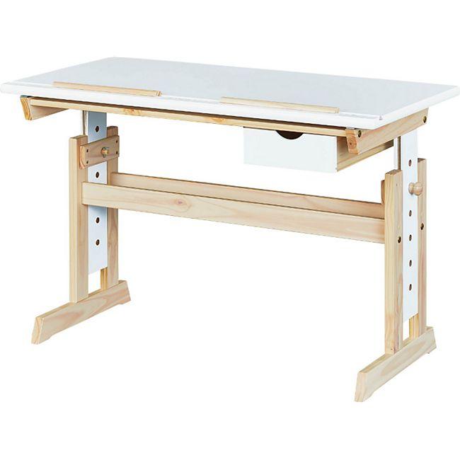 Albin Schreibtisch 1 Schublade Natur Weiss Arbeitstisch Bürotisch Computertisch - Bild 1