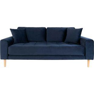 Lido Sofa 2,5 Pers Velour + 2  Kissen blau Couch Garnitur Wohnzimmer Sitzmöbel - Bild 1