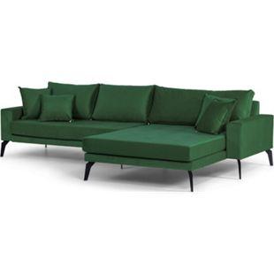 Vila Sofa Chaiselongue 3 Pers. rechts 4 Kissen Velours grün Couch Chaiselounge - Bild 1