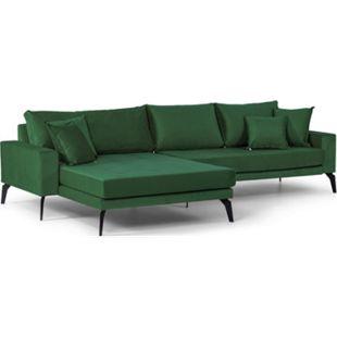 Vila Sofa Chaiselongue 3 Pers. links 4 Kissen Velours grün Couch Chaiselounge - Bild 1