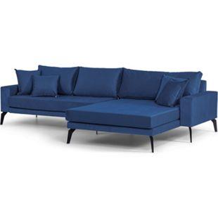 Vila Sofa Chaiselongue 3 Pers. rechts 4 Kissen velours blau Couch Chaiselounge - Bild 1