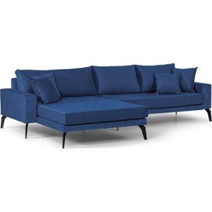 Vila Sofa Chaiselongue 3 Pers. links 4 Kissen Velours blau Couch Chaiselounge - Bild 1