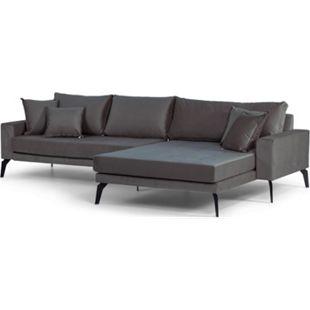 Vila Sofa Chaiselongue rechts 4 Kissen Velours dunkelgrau Couch Chaiselounge - Bild 1