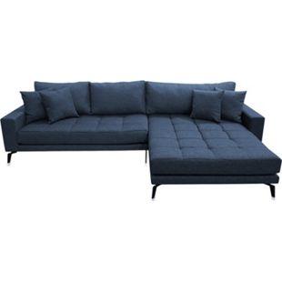 Vila Sofa Chaiselongue 3 Pers. rechts 4 Kissen Stoff blau Couch Chaiselounge - Bild 1