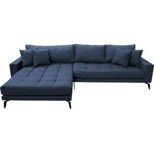 Vila Sofa Chaiselongue 3 Pers.. links mit 4 Kissen Stoff blau Couch Chaiselounge - Bild 1