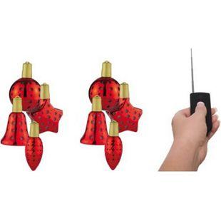 8x Lichterglanz LED beleuchtete Weihnachtsbaumkugel Baumkugel kabellos in rot - Bild 1
