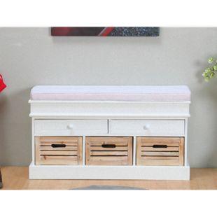 Sitzbank Mia Bank Kommode Sideboard Lowboard weiß + Kissen + Holz Kisten - Bild 1
