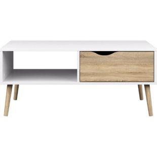 Couchtisch NAPOLI Wohnzimmertisch Beistelltisch Tisch Wohnzimmer weiß/Eiche - Bild 1
