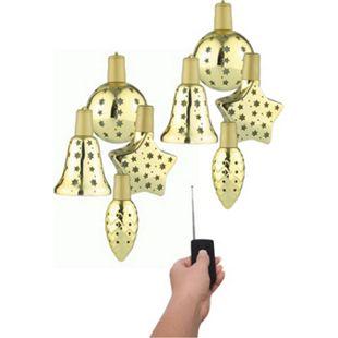 8x Lichterglanz LED Weihnachtsbaum Kugel Baum Schmuck beleuchtet kabellos gold - Bild 1