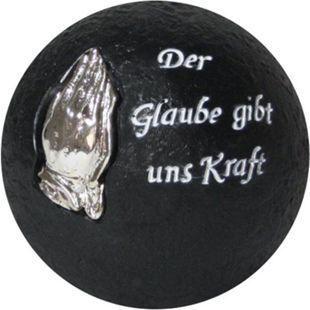 Grabschmuck Ø 10,5cm Dekokugel + Inschrift Grab Dekoration Trauer betende Hände - Bild 1