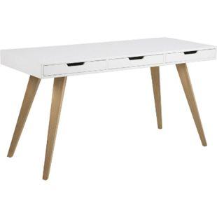 PKline Schreibtisch Computertisch Arbeitstisch Tisch weiß/Eiche Arbeitszimmer - Bild 1