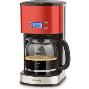 H.KOENIG MG30 Edelstahl Kaffeemaschine, 12 Tassen, Rot - Bild 1