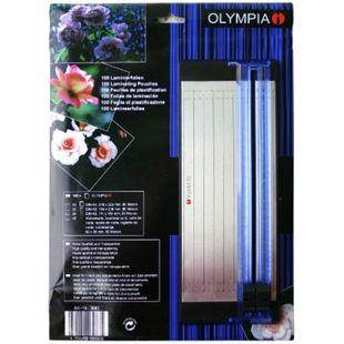 OLYMPIA Laminierfolien-Set mit DIN A5 Schneidelineal, 100 gemischte Folien, 80 Mikron - Bild 1