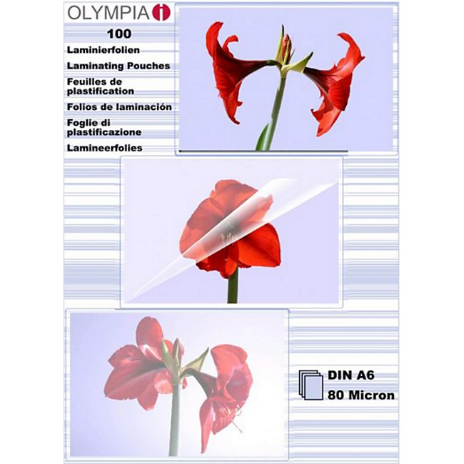 OLYMPIA Laminierfolie, DIN A6, 80 Mikron, 100 Stück - Bild 1