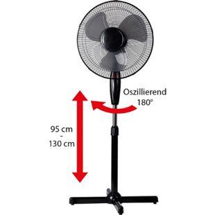 LEX Standventilator Ø40 cm mit Nachtlicht, 3 Geschwindigkeiten, Oszillation, 130cm höhenverstellbar, Schwarz - Bild 1