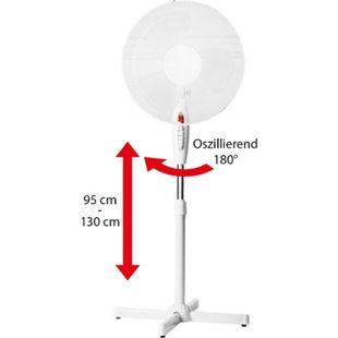 LEX Standventilator Ø40 cm mit Nachtlicht, 3 Geschwindigkeiten, Oszillation, 130cm höhenverstellbar, Weiß - Bild 1
