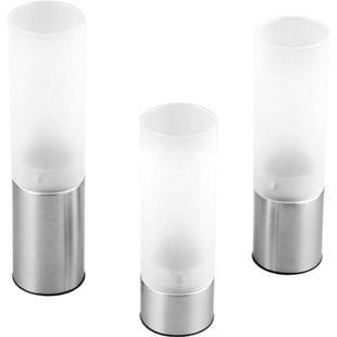 CHG Stimmungsleuchten / Teelichthalter, Edelstahl/Glas, 3-teilig - Bild 1