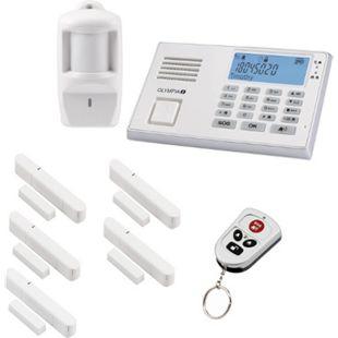 OLYMPIA Protect 9061 Alarmanlagen GSM Funk Set mit 1 Bewegungsmelder, 5 Tür/Fensterkontakten und Fernbedienung, Weiß - Bild 1