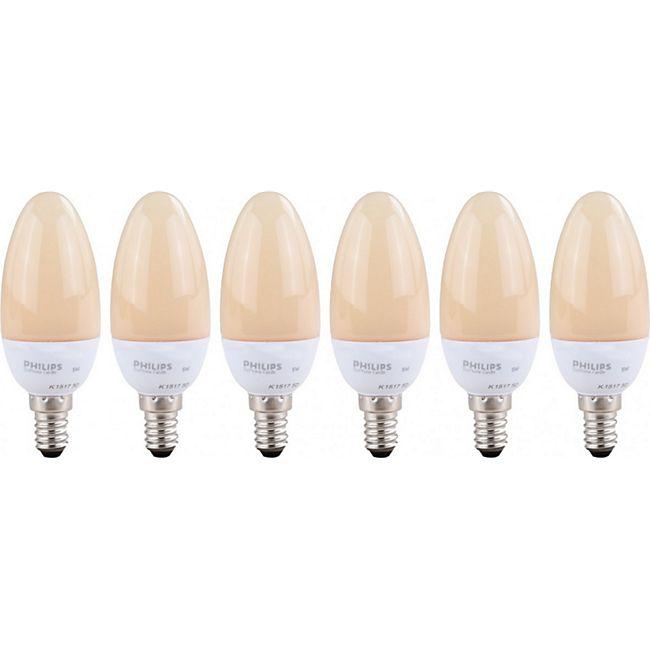 6 Stück PHILIPS Softone Energiesparlampe E14 Kerze, EEK A (Spektrum: A++ bis E) 5 W, Warmweiß - Bild 1