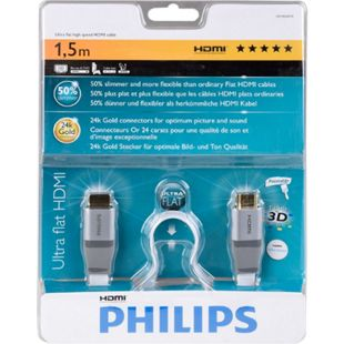 Philips HDMI Kabel Hochgeschwindigkeits Ultra Flach 24k Gold Stecker 1,5 m weiss - Bild 1