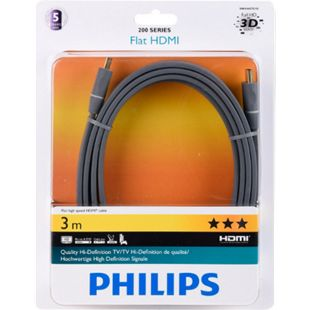 Philips HDMI Kabel 1.4  Audio-/Video-Kabel 3,0 m Flach  schwarz - Bild 1