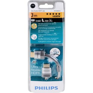 PHILIPS HDMI Kabel  Ultra Flat 1.4 Kabel 24k Goldstecker 3,0 m, Schwarz - Bild 1