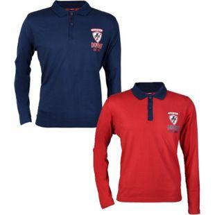 2 Stück DONNAY Herren Langarm Poloshirt im Rugby Stil, Blau und Rot/m - Bild 1