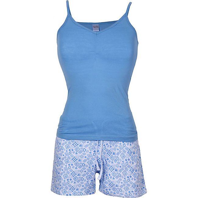 Damen Sommer Pyjama 100% Baumwolle/xs /hellblau - Bild 1