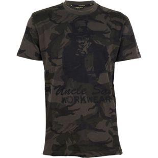 UNCLE SAM Herren T-Shirt, M, Oliv Camouflage/ Schwarz - Bild 1