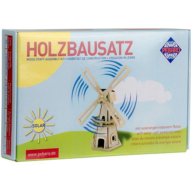 PEBARO Solar Holzbausatz Windmühle mit Solarfunktion - Bild 1