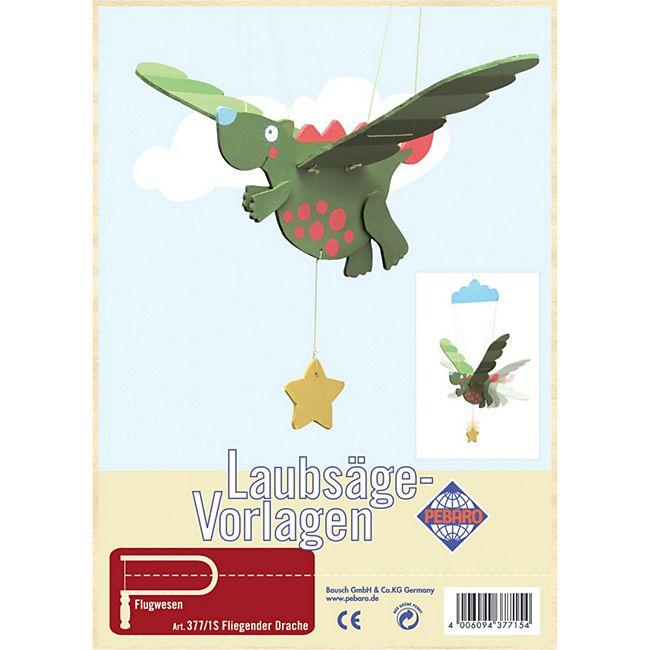 PEBARO Laubsägevorlage Mobilé fliegender Drache, Flugtier - Bild 1