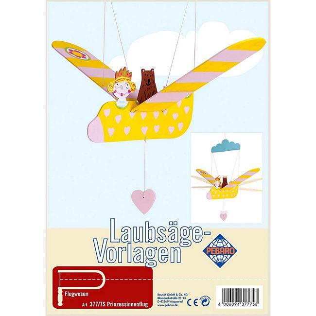 PEBARO Laubsägevorlage Mobilé fliegende Prinzessin im Flugzeug, Flugfigur - Bild 1