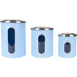 Hochwertige Vorratsdosen mit Sichtfenster, 3er Set, Hellblau - Bild 1