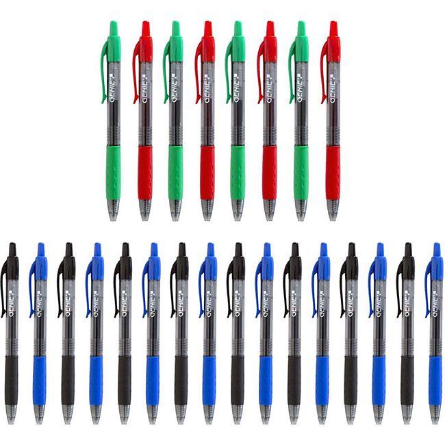 24 Stück GENIE Kugelschreiber Gel-Schreiber Kuli Stift Set in Box 4 Farben - Bild 1