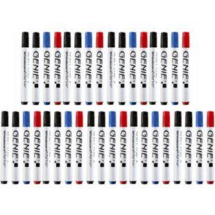 36 Stück GENIE Whiteboard-Marker abwischbar Stifte Flipchart schwarz blau rot - Bild 1