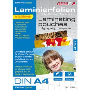 100 St. Genie Laminierfolien DIN A4 (80 Micron)  Premium Laminierfolien Laminierfolientaschen - Bild 1