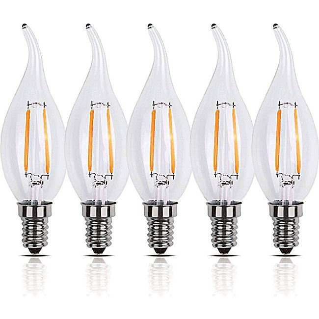 5 Stück LED Filament Tropfen Leuchte E14 2W 200 Lumen Lampe Glühfaden - Bild 1