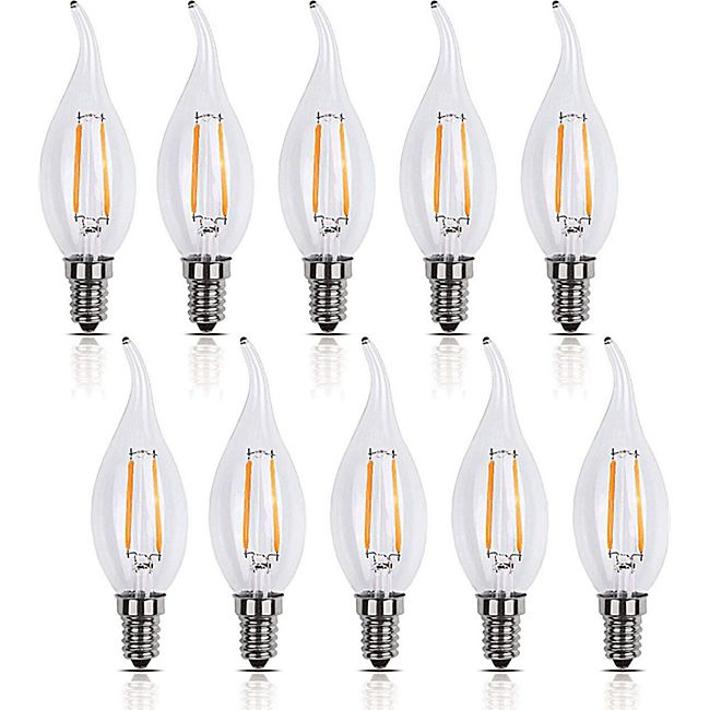 10 Stück  E14  LED Kerzen Filament Tropfen Leuchte 2 Watt 200 Lumen  warmweiß - Bild 1