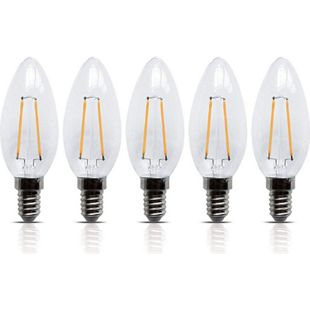 5 Stück LED Filament Leuchte Kerze E14 2W 200 Lumen Lampe Glühfaden - Bild 1
