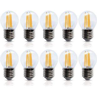 10 Stück LED Filament Leuchte Kugel E27 4W 400 Lumen A+ Lampe Glühfaden Innenbereich - Bild 1