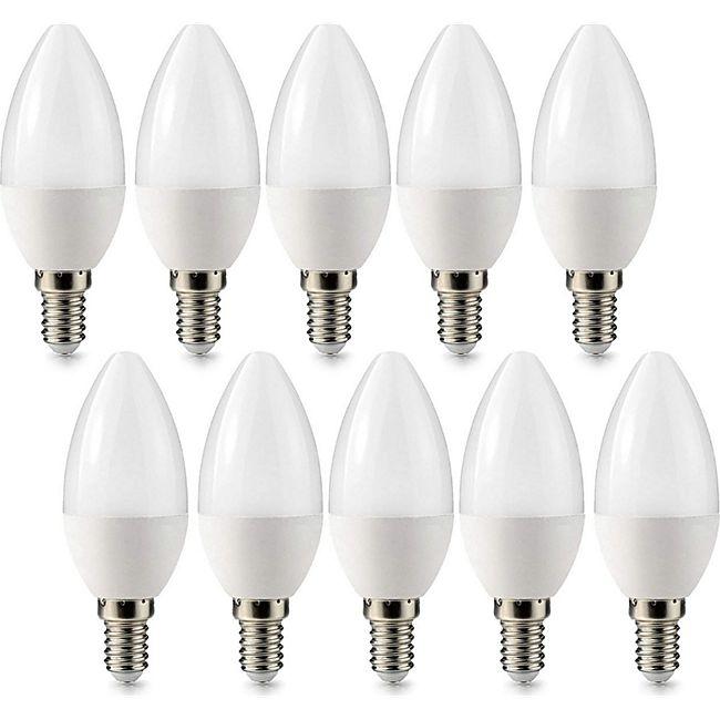 10 Stück E14 LED Kerze Leuchtmittel Glühbirne 3 Watt 240 Lumen warmweiß - Bild 1