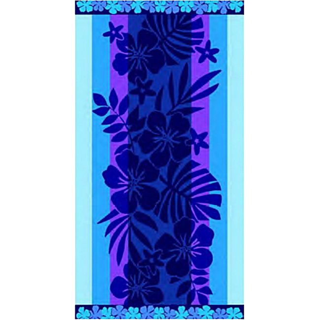 LEX Saunatuch Handtuch, ST1001, Flower-Blue - Bild 1