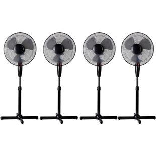 LEX 4x Standventilator Ø40 cm mit Nachtlicht, 3 Geschwindigkeiten, Oszillation, 130cm höhenverstellbar, Schwarz - Bild 1