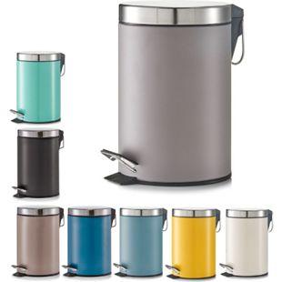 Zeller Treteimer/ Mülleimer 3 L aus Metall/Edelstahl Maße: Ø 17x26cm ver. Farben Farbe: taupe - Bild 1
