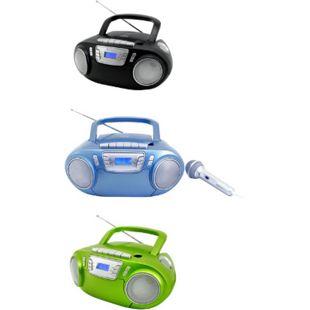 Soundmaster SCD5800 Boombox CD-MP3-Radio mit Kassette, Lichteffekten u. Mikro Farbe: blau - Bild 1