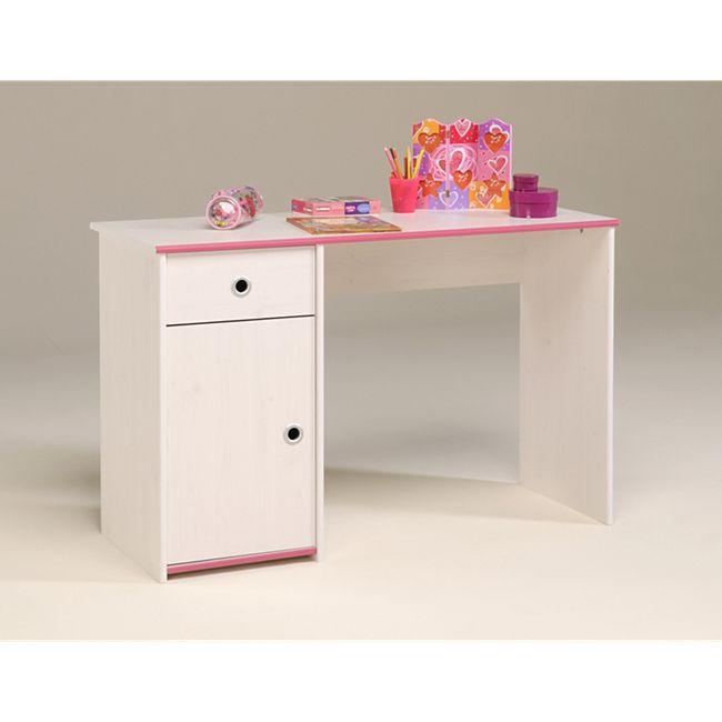 Parisot Schreibtisch Kiefer-Dekor weiß mit drehbaren Kanten - Bild 1