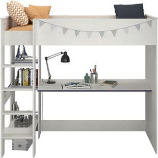 """Parisot Hochbett mit Schreibtisch """"Smoozy 3"""" Weiß - Bild 1"""