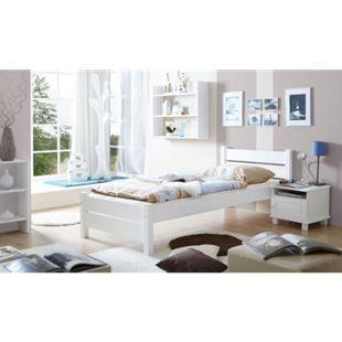 TiCAA Massivholz Einzelbett Bora Kiefer Weiß - Bild 1