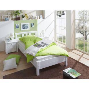 TiCAA Einzelbett und Doppelbett Merci Kiefer Weiß - Bild 1